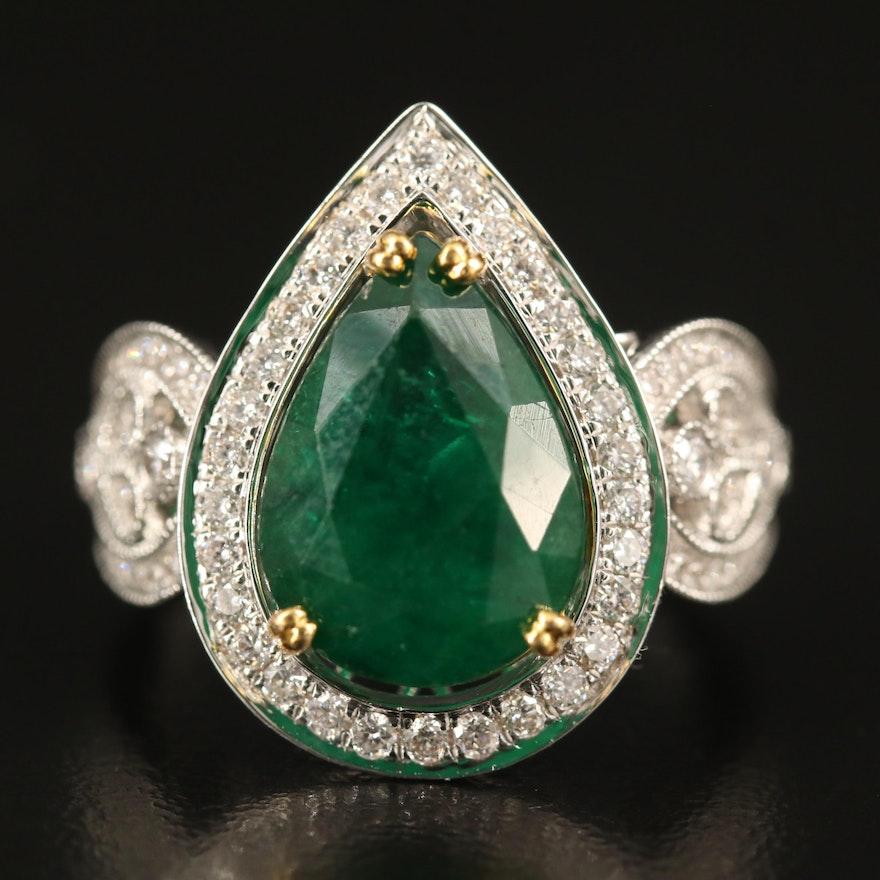 14K 5.41 CT Emerald and Diamond Halo Ring