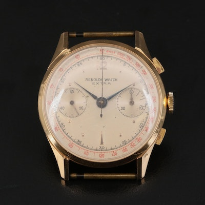 Vintage Reynolds Extra Chronograph 18K Rose Gold Wristwatch