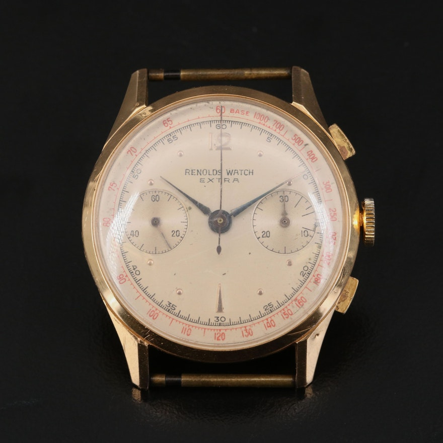 Vintage Reynolds Extra Chronograph 18K Rose Gold Wristwatch