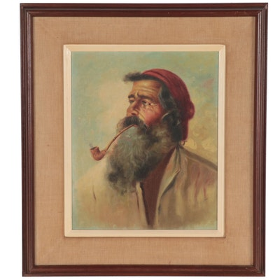 Oil Painting of Bearded Man with a Pipe