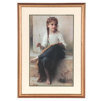 "Offset Lithograph after William-Adolphe Bouguereau ""A Young Girl Sewing"""