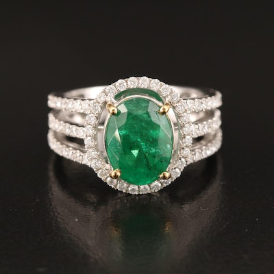 14K 3.06 CT Emerald and 1.00 CTW Diamond Ring with Yellow Gold Accents