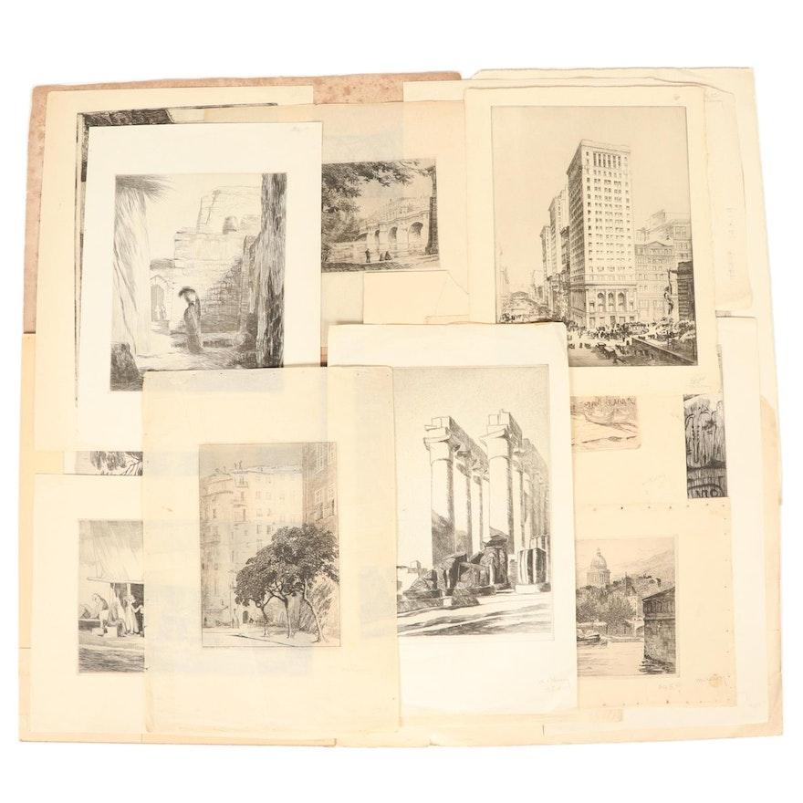 Earl B. McKinney Etchings of Middle Eastern and European Scenes