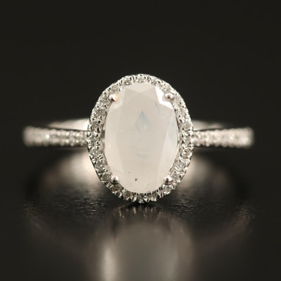 Platinum 1.17 CTW Diamond Ring with Fancy White Center and GIA Report