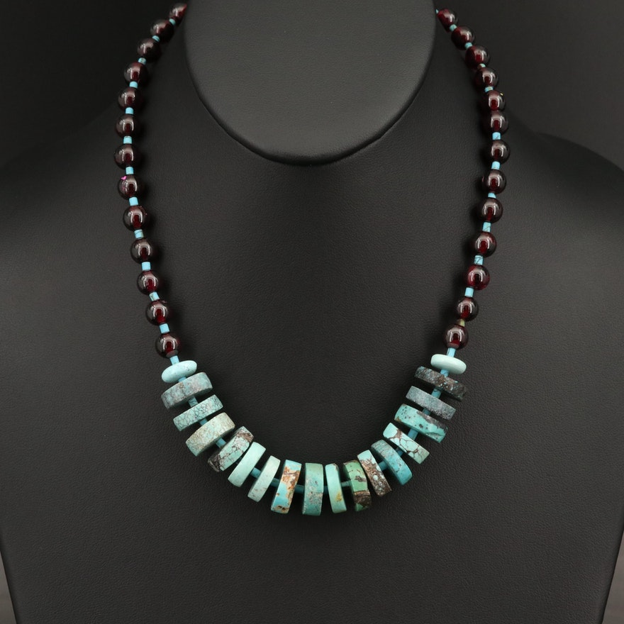 Howlite and Garnet Bead Necklace with Sterling Clasp