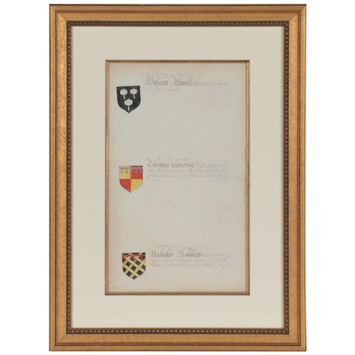 Framed Handwritten Page from Book of English Heraldry, Late 18th Century
