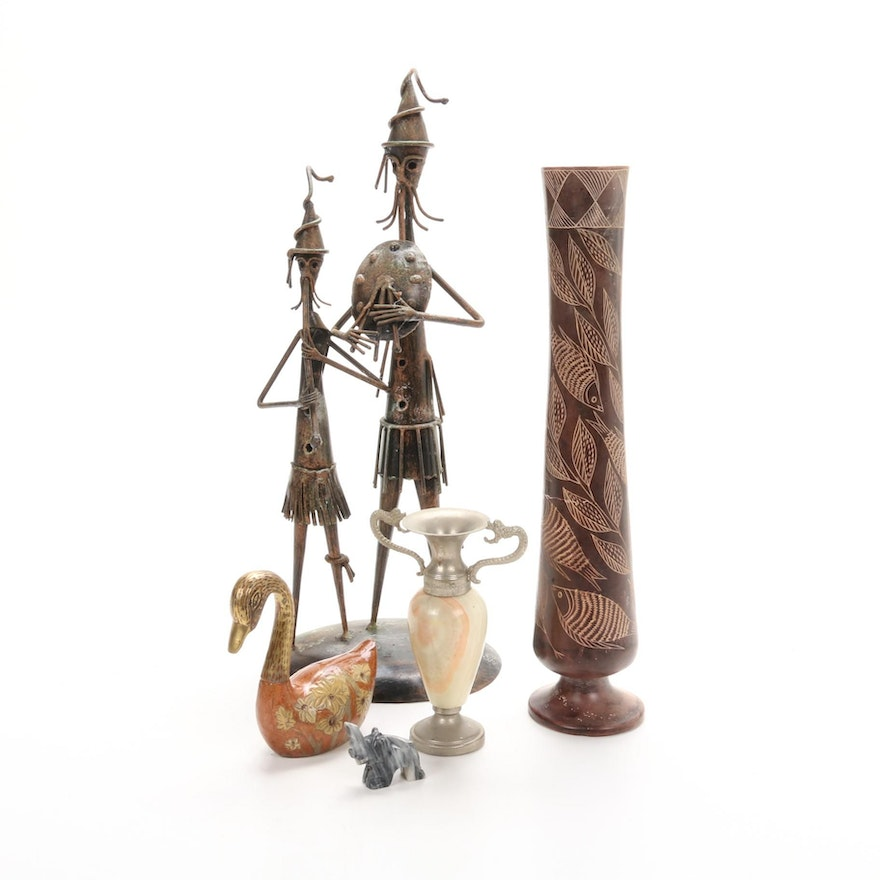 Carved Stone Vases, Figurines, and Wrought Iron Folk Art Sculpture
