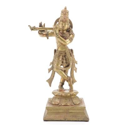 Gilt Cast Metal Krishna Statue