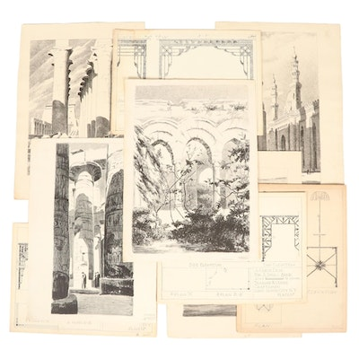 Earl B. McKinney Lithographs and Ink and Graphite Architectural Sketches