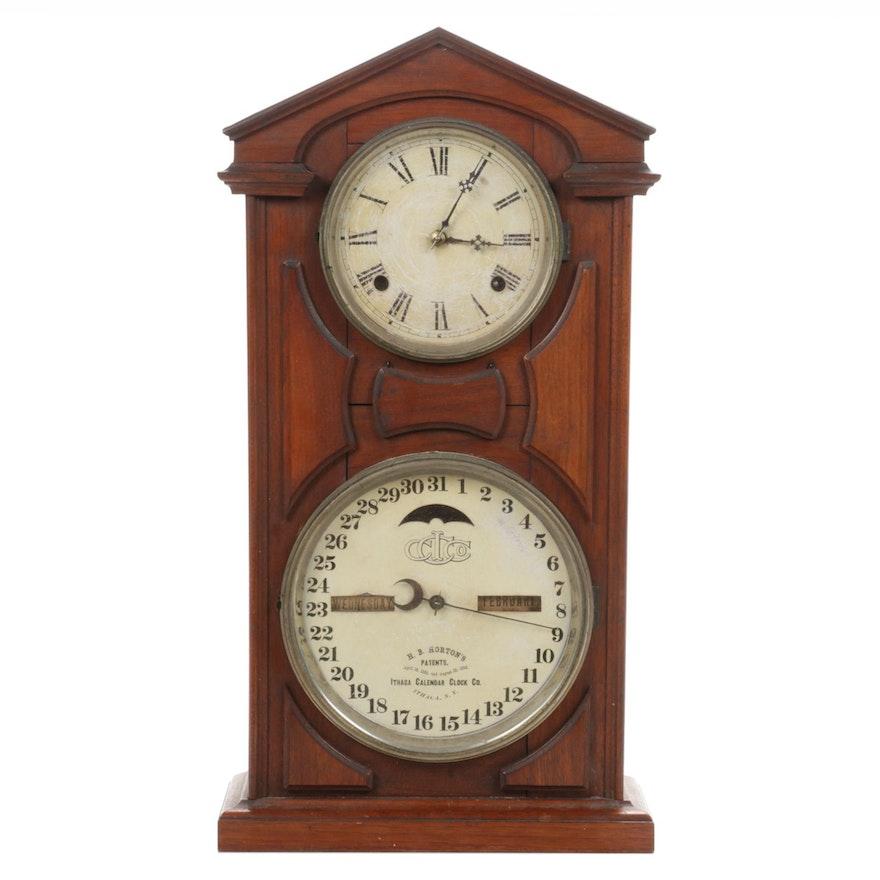 "H. B. Horton's ""Farmers"" Eight Day Two Face Ithaca Calendar Clock, Antique"