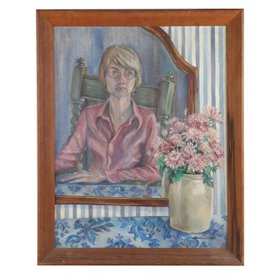 Barbara Evans Cowan Oil Painting of Self-Portrait in Mirror, 20th Century