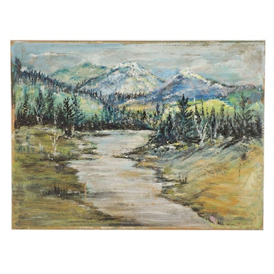 Oil Painting of Mountain River Landscape, Mid-Late 20th Century