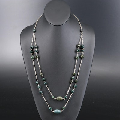 Bloodstone, Agate and Jasper Double Strand Necklace