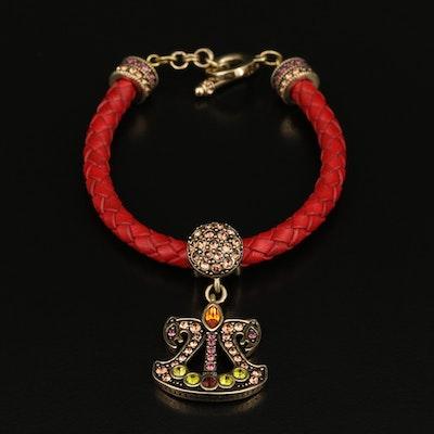 Heidi Daus Rhinestone Panther Head Charm Bracelet
