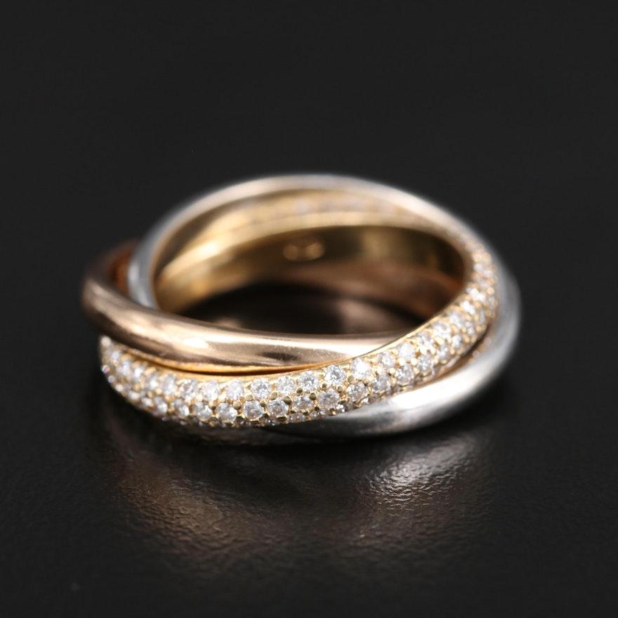 18K Tri-Color Diamond Rolling Ring