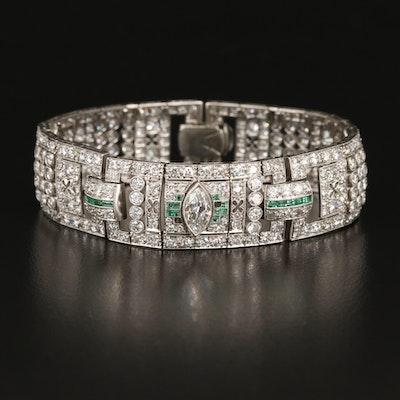 Art Deco Platinum 14.88 CTW Diamond and Emerald Bracelet