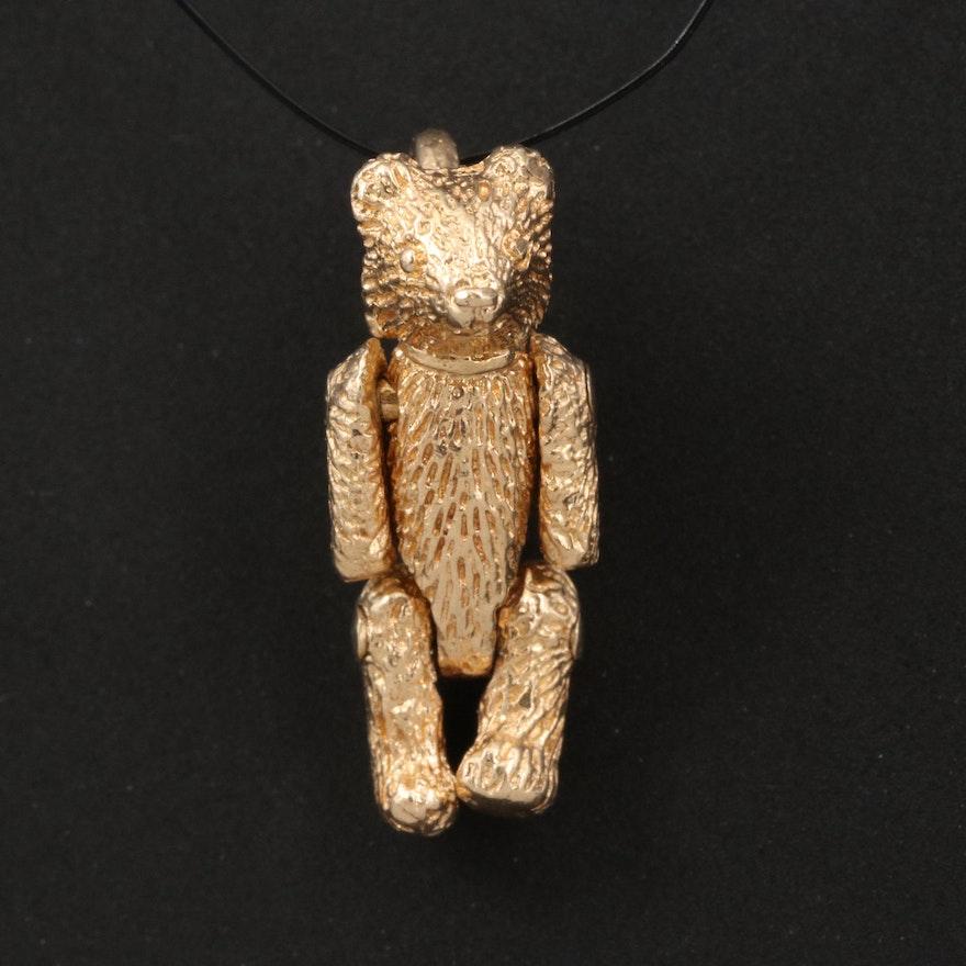 14K Articulated Teddy Bear Charm