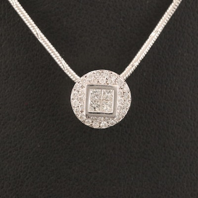 18K Diamond Cluster Pendant Necklace
