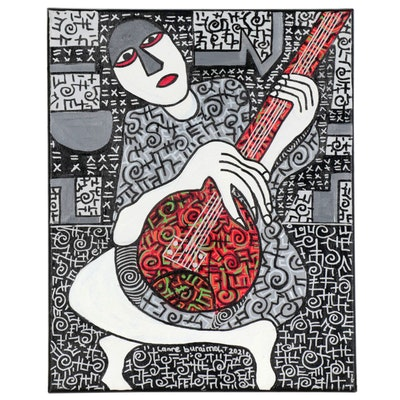 "Lanre Buraimoh Acrylic Painting ""Solo Musician,"" 2021"