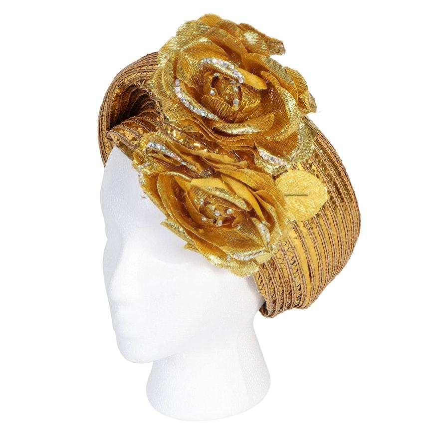 Jack McConnell New York Embellished Gold Metallic Floral Hat