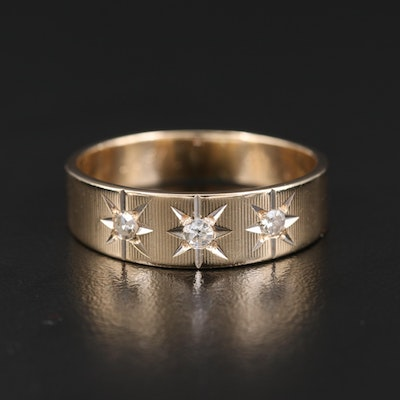 Vintage 14K Diamond Star Band