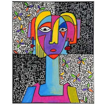"Lanre Buraimoh Acrylic Painting ""Woman of Honor,"" 2021"