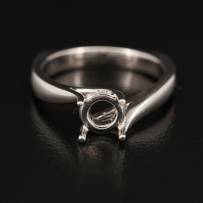 14K Diamond Semi-Mount Ring with European Shank