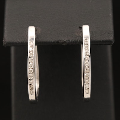 14K Diamond Elongated Hoop Earrings