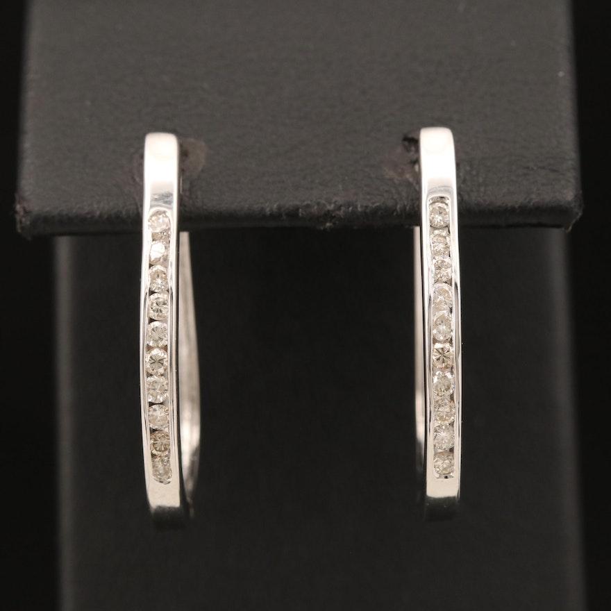 14K Diamond Elongated Hoop Earrings