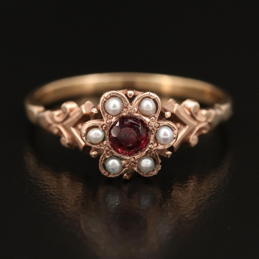 Victorian 10K and 14K Tourmaline and Pearl Ring