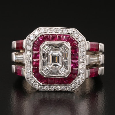 14K Ruby and 1.12 CTW Diamond Geometric Ring