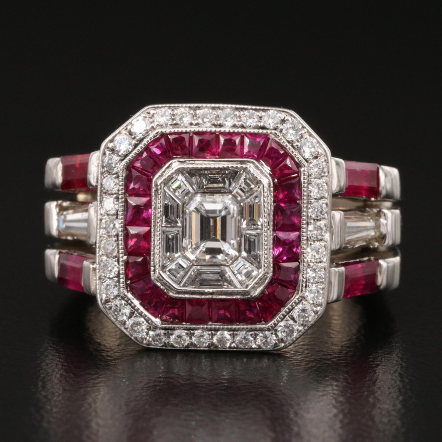 14K Ruby and 1.12 CTW Diamond Geometric Ring