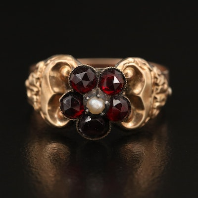 8K, 14K and Sterling Garnet and Pearl Flower Ring