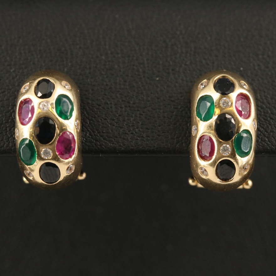 14K Sapphire, Ruby and Chalcedony Half Hoop Earrings