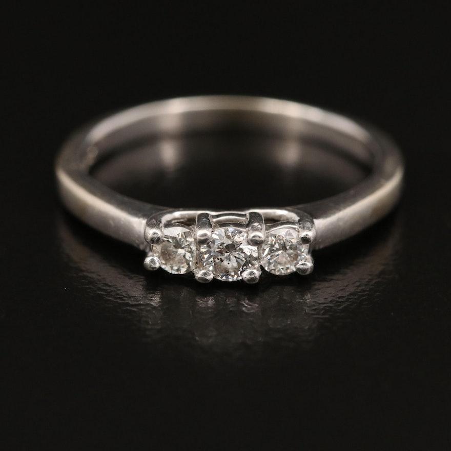 14K Diamond Three Stone Ring with Platinum Accent