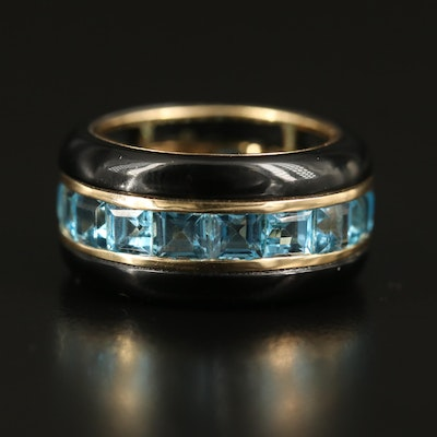 14K Topaz and Black Onyx Band