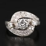 Vintage 14K 1.19 CTW Diamond Bypass Ring