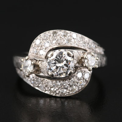 Vintage 14K 1.19 CTW Diamond Bypass Ring