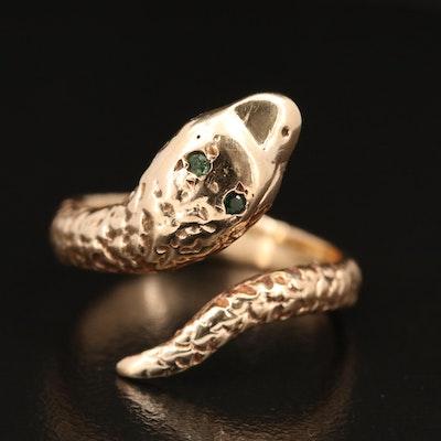 14K Tsavorite Garnet Bypass Snake Ring