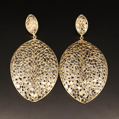 14K Large Diamond Stylized Leaf Earrings