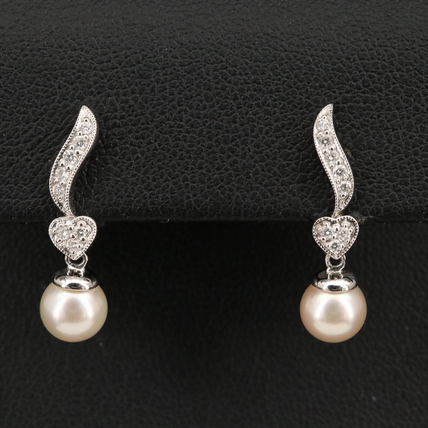 14K Pearl and Diamond Heart Earrings