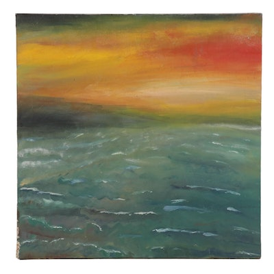 Impressionist Style Oil Painting of Sunset Seascape, Late 20th Century