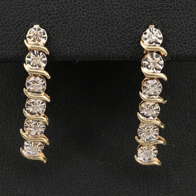 14K Diamond Illusion Set Dangle Earrings
