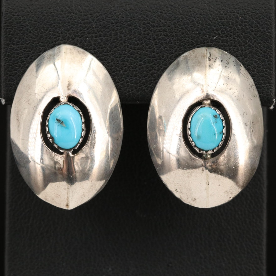 Sterling Turquoise Shadow Box Button Earrings