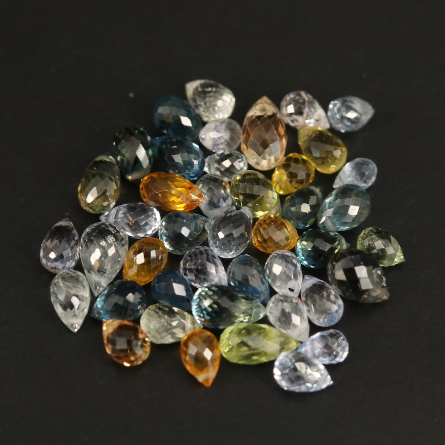 Loose Multi-Colored Sapphire Faceted Briolettes