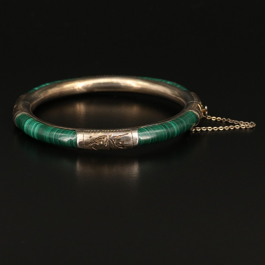 Sterling Malachite Inlay Hinged Bangle with Engraved Floral Detail