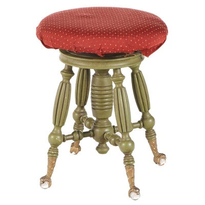 Victorian Style Painted Wood Upholstered Claw and Glass Ball Foot Piano Stool
