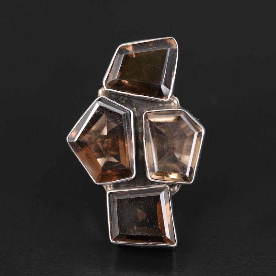 Modernist Sterling Smoky Quartz Geometric Ring