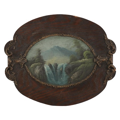 Waterfall Mountain Landscape Oil Painting on Carved Wooden Frame