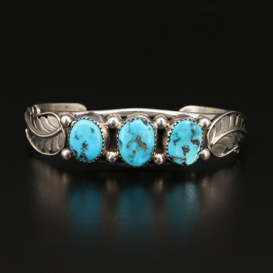 Signed Southwestern Sterling Turquoise Nugget Cuff with Foliate Detail